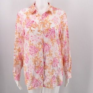J JILL Blouse S Linen Top Coral Reef Turtle Pink